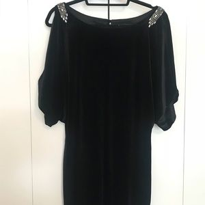 Aidan Mattox Black Velvet Cocktail Dress